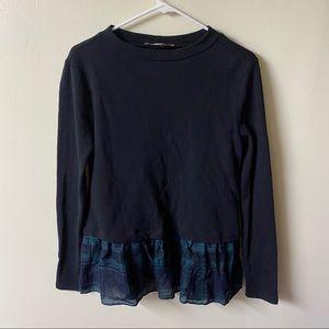 LOFT Ann Taylor plaid Ruffle Long sleeve sweater